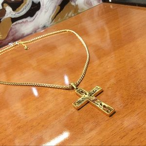"""Other - Mens """"Lux"""" REAL 18K Gold Plated Cross Necklace"""
